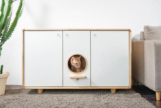 拍拍原木貓砂櫃 更完美地代替貓砂盤